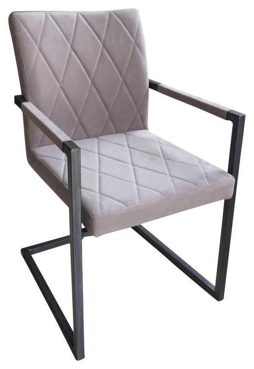 SCHWINGSTUHL Samt Grau, Schwarz - Schwarz/Grau, LIFESTYLE, Kunststoff/Textil (53,50/87/60cm) - Xora