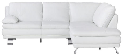 ECKSOFA Echtleder Rücken echt - Alufarben/Weiß, KONVENTIONELL, Leder/Metall (246/220cm) - Celina Home