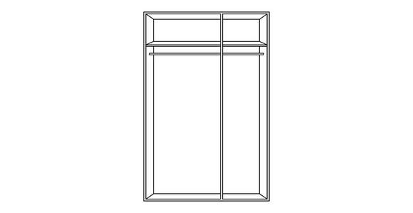 DREHTÜRENSCHRANK in Eichefarben  - Eichefarben/Silberfarben, KONVENTIONELL, Glas/Holzwerkstoff (135/210/58cm) - Cantus