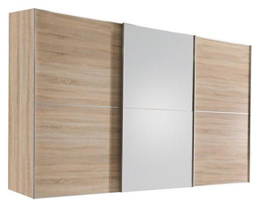 SCHWEBETÜRENSCHRANK 3-türig Eiche Sonoma Eiche - Alufarben/Sonoma Eiche, Design, Glas/Holzwerkstoff (280/222/68cm) - Moderano