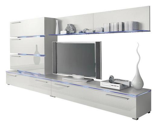 WOHNWAND Hochglanz, melaminharzbeschichtet Weiß - Silberfarben/Weiß, Design, Kunststoff (300/135/40cm) - Carryhome