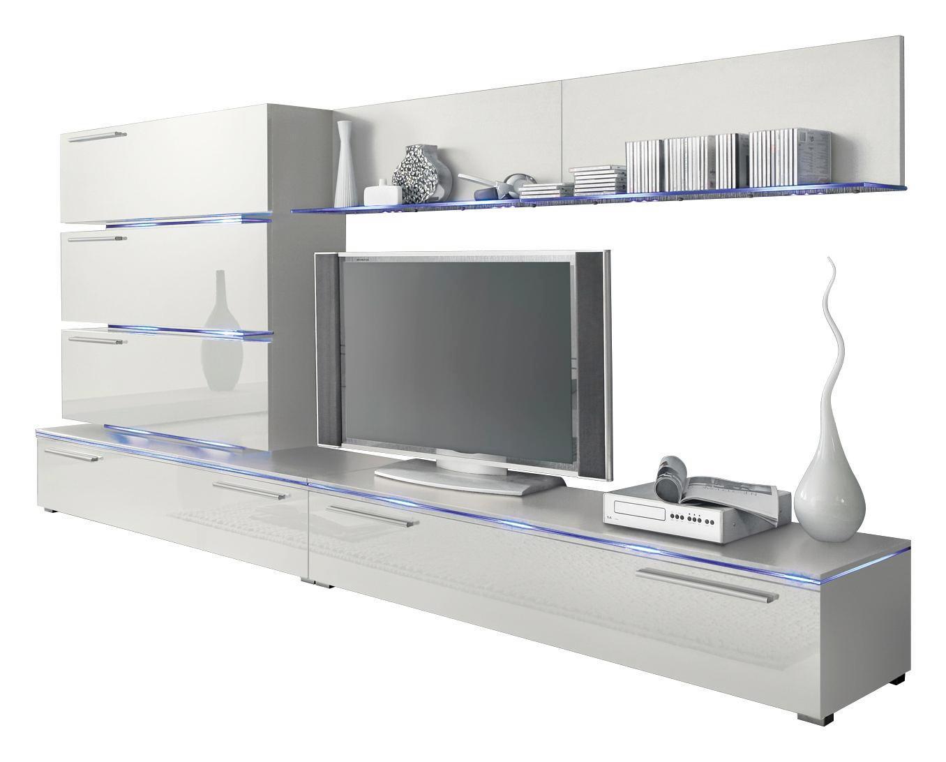 WOHNWAND Weiß   Silberfarben/Weiß, Design, Kunststoff (300/135/40cm