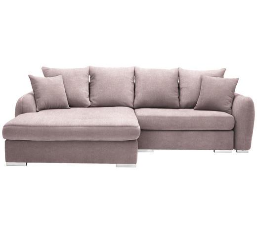WOHNLANDSCHAFT in Textil Rosa - Chromfarben/Rosa, Design, Kunststoff/Textil (195/275cm) - Carryhome