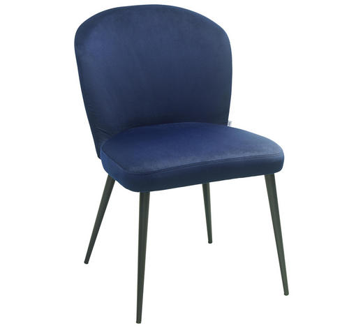 STUHL in Metall, Textil Blau - Blau, Design, Textil/Metall (49,5/81,5/61,5cm) - Lomoco