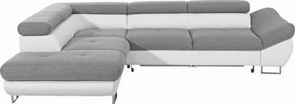 Ecksofa Grau, Weiß Lederlook, Webstoff  - Chromfarben/Weiß, Design, Holz/Textil (235/280cm) - Hom`in