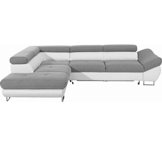 WOHNLANDSCHAFT in Holz, Textil, Holzwerkstoff Grau, Weiß  - Chromfarben/Weiß, Design, Holz/Holzwerkstoff (235/280cm) - Hom`in