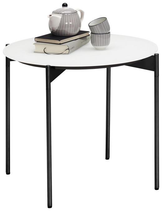 BEISTELLTISCH rund Schwarz, Weiß - Schwarz/Weiß, Design, Glas/Metall (55/49cm) - Venjakob