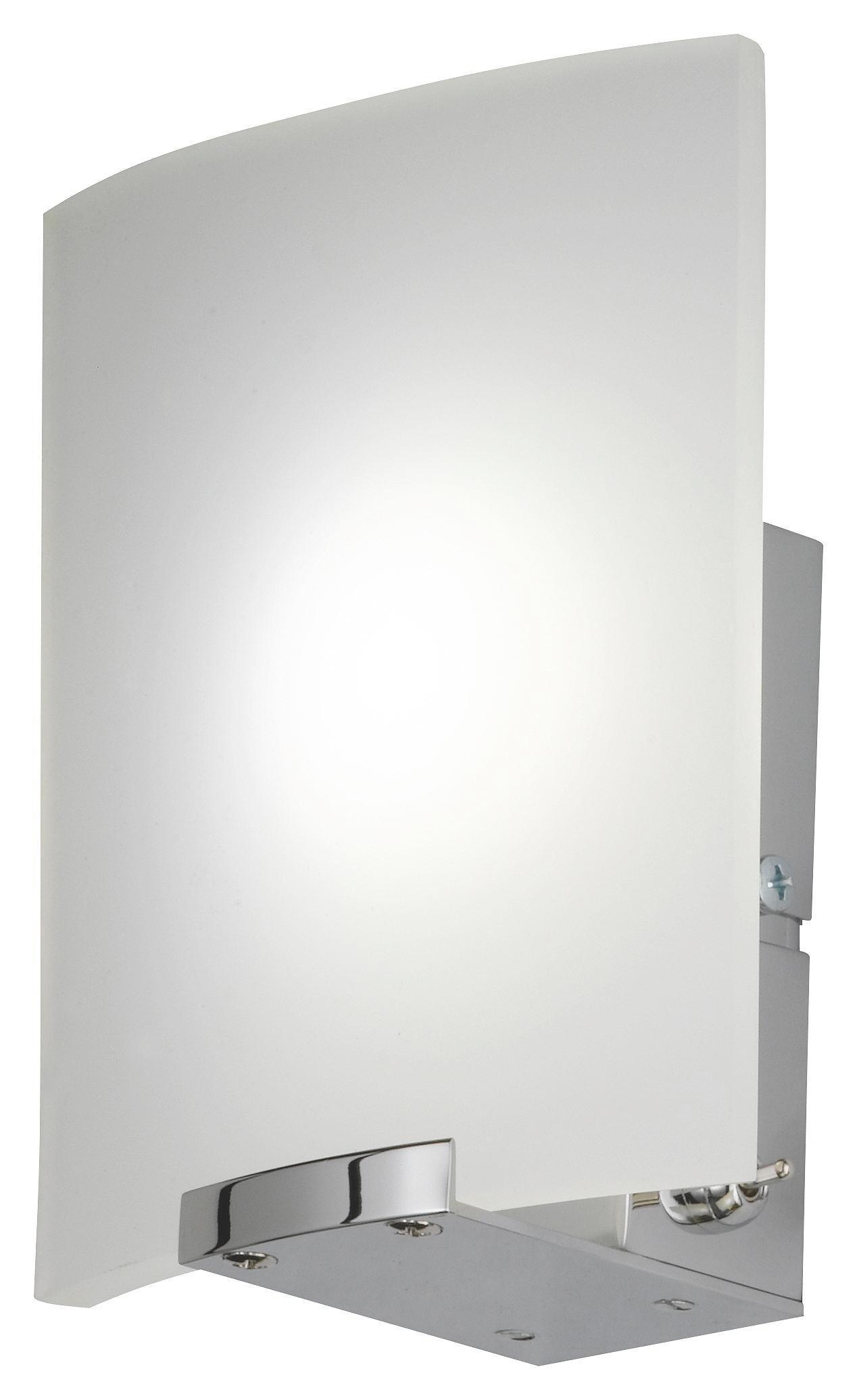WANDLEUCHTE - Chromfarben/Weiß, LIFESTYLE, Glas/Metall (15/13/7cm)