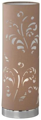 LAMPA STOLNÍ - barvy chromu/hnědá, Lifestyle, kov/textil (35cm)