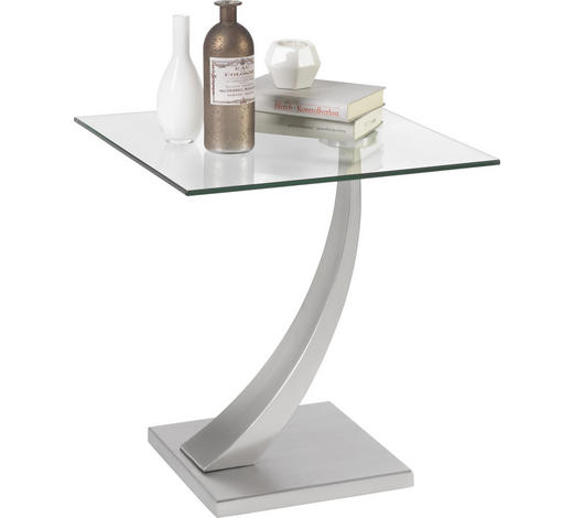 ODKLÁDACÍ STOLEK, barvy stříbra - barvy stříbra, Design, kov/sklo (45,5/50/45,5cm) - Xora