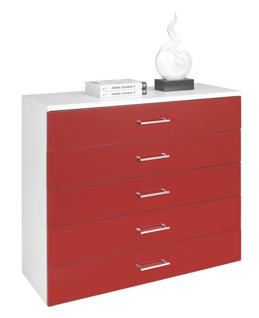 KOMMODE in Rot, Weiß - Chromfarben/Rot, KONVENTIONELL, Holzwerkstoff/Kunststoff (100/84/39.5cm) - WELNOVA