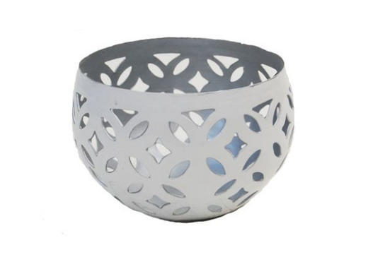 TEELICHTHALTER - Silberfarben/Weiß, KONVENTIONELL, Metall (7/10cm) - Ambia Home