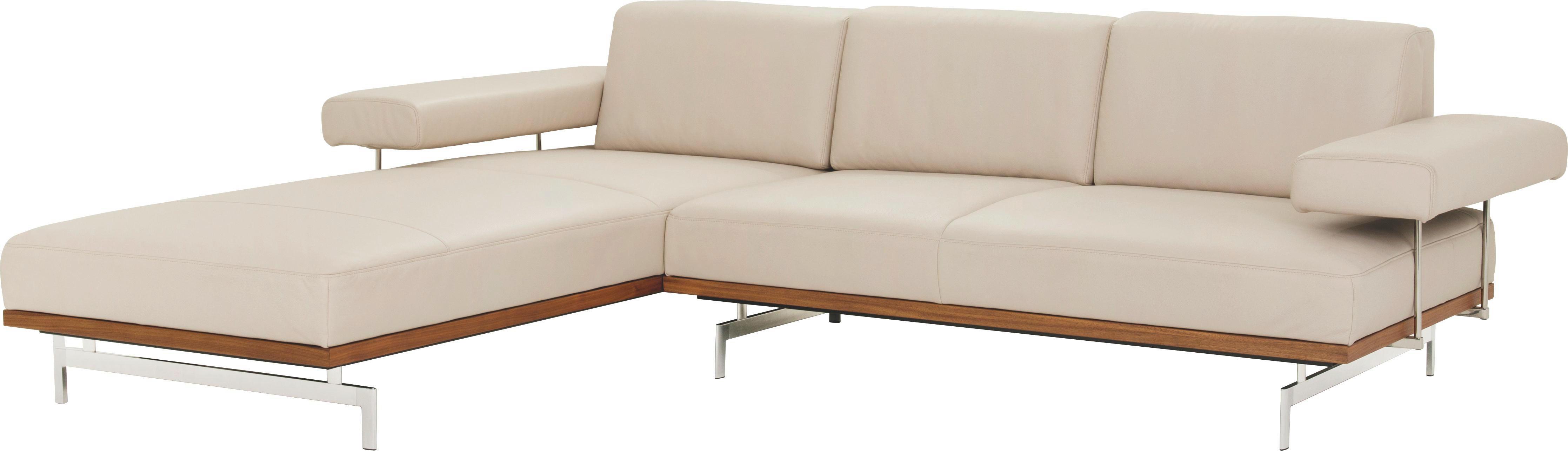 WOHNLANDSCHAFT in Creme Leder - Creme/Alufarben, Design, Leder/Metall (237/295cm) - JOOP