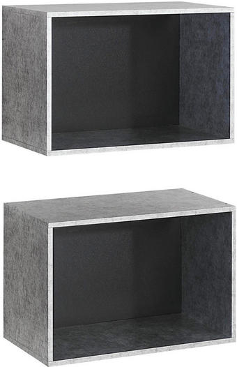 Regalkisten Silver Plate Folie Grau - Grau, Design (52/34/26cm) - Carryhome