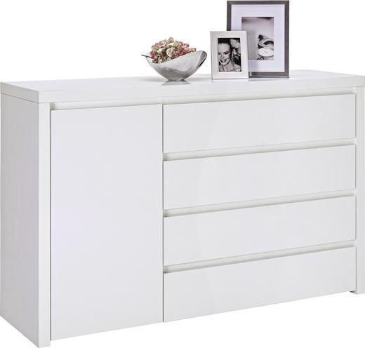 KOMMODE Weiß - Alufarben/Weiß, Design, Holzwerkstoff/Kunststoff (148/94/45cm) - Voleo