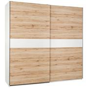 SCHWEBETÜRENSCHRANK in Eichefarben, Weiß - Eichefarben/Silberfarben, Design, Holzwerkstoff (215/210/63cm) - CARRYHOME