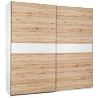 SKŘÍŇ S POSUVNÝMI DVEŘMI - bílá/barvy stříbra, Design, dřevěný materiál (215/210/63cm) - CARRYHOME