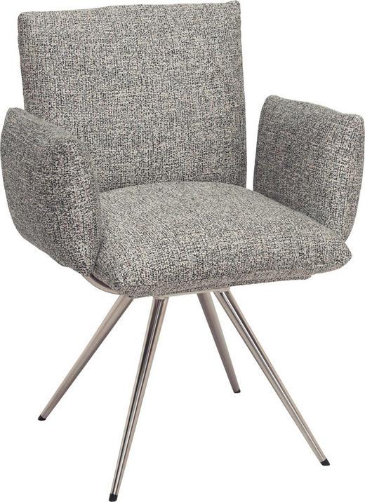 ŽIDLE S PODRUČKAMI, barvy nerez oceli, šedá, - šedá/barvy nerez oceli, Natur, kov/textil (72/90/65cm) - Venjakob