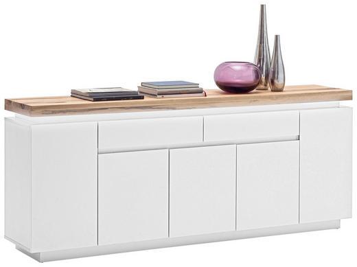 SIDEBOARD Eiche massiv lackiert, matt, Mattlack Eichefarben, Weiß - Eichefarben/Weiß, Design, Holz (200/81/40cm)
