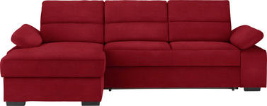 WOHNLANDSCHAFT in Textil Rot  - Dunkelbraun/Rot, KONVENTIONELL, Kunststoff/Textil (166/258cm) - Cantus