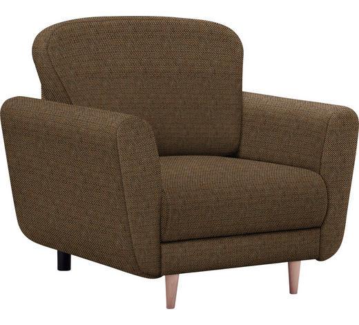 SESSEL in Textil Braun, Orange  - Buchefarben/Schwarz, Design, Holz/Kunststoff (95/90/93cm) - Hom`in