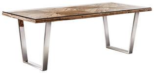 ESSTISCH in Holz, Metall, Glas 100/210/76 cm   - Edelstahlfarben/Naturfarben, LIFESTYLE, Glas/Holz (100/210/76cm) - Landscape