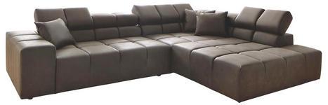 WOHNLANDSCHAFT Dunkelbraun Mikrofaser - Dunkelbraun/Schwarz, Design, Kunststoff/Textil (317/70-81/213cm) - Hom`in