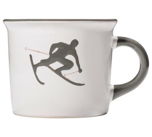 KAFFEEBECHER 240 ml  - Weiß/Grau, LIFESTYLE, Keramik (12/7,8/9,2cm) - Gmundner