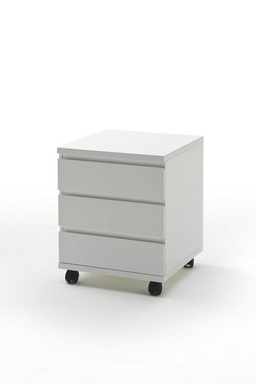 LADIČAR NA KOTAČIĆIMA - bijela, Design, drvni materijal/plastika (42/57/42cm) - Xora