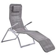 SKLOPIVA LEŽALJKA - boje srebra/smeđa, Design, metal/tekstil (67/110/152cm) - AMBIA GARDEN