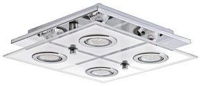 LED-TAKLAMPA - kromfärg, Klassisk, metall/glas (29/29/7cm) - Novel