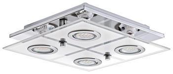 LED-DECKENLEUCHTE - Chromfarben, KONVENTIONELL, Glas/Kunststoff (29/29/7cm) - Novel