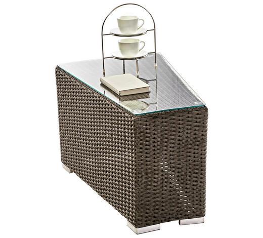 GARTENBEISTELLTISCH Kunststoff, Glas  - Grau, Trend, Glas/Kunststoff (49/48/72cm) - Ambia Garden