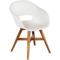 GARTENSTUHL   Weiß/Akaziefarben, Design, Holz/Kunststoff (56/83, ...