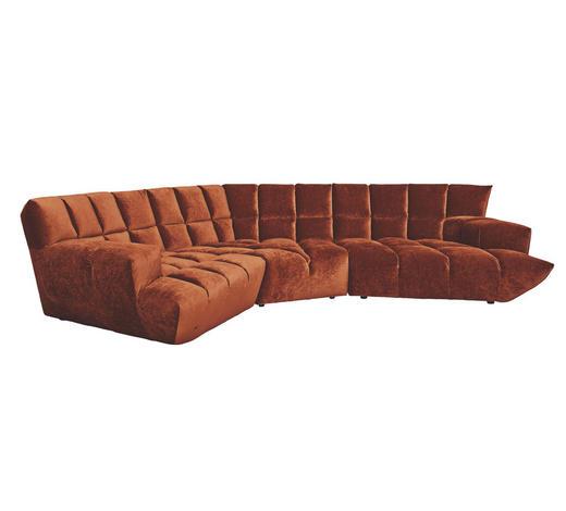 WOHNLANDSCHAFT in Textil Orange - Schwarz/Orange, Trend, Kunststoff/Textil (318/318cm) - Bretz
