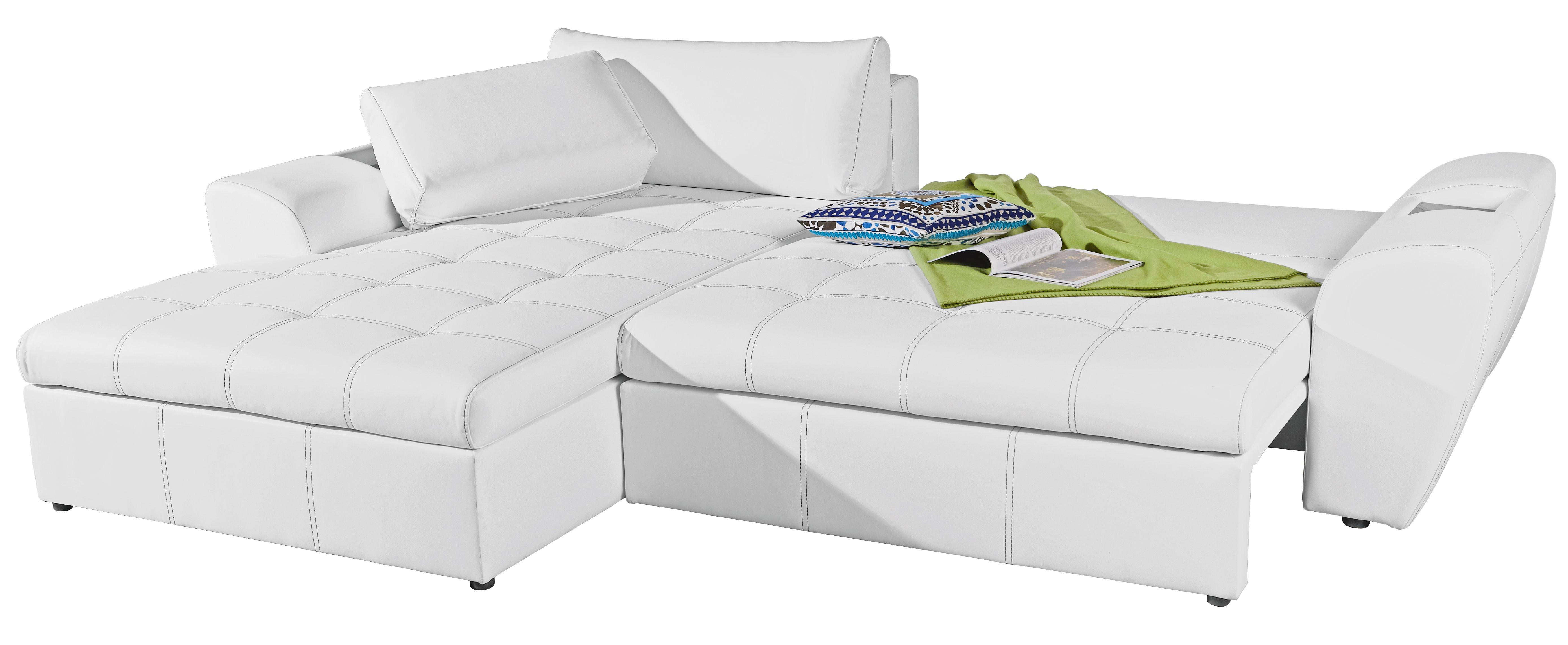Ecksofa Lederlook Ablage, Rückenkissen - Schwarz/Weiß, Design, Kunststoff/Textil (290/78/204cm) - CARRYHOME