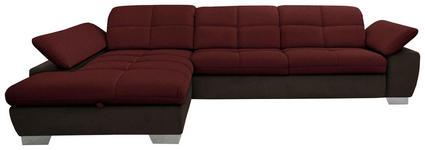 WOHNLANDSCHAFT in Textil Braun, Rot - Chromfarben/Rot, Design, Textil/Metall (204/297cm) - Xora