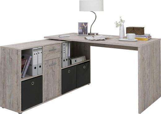 ECKSCHREIBTISCH Eichefarben - Eichefarben/Alufarben, Design, Kunststoff (136/75/137cm) - Carryhome