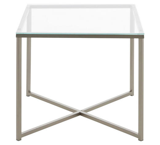 BEISTELLTISCH in Metall, Glas  - Chromfarben/Klar, Design, Glas/Metall (50/45/50cm) - Carryhome