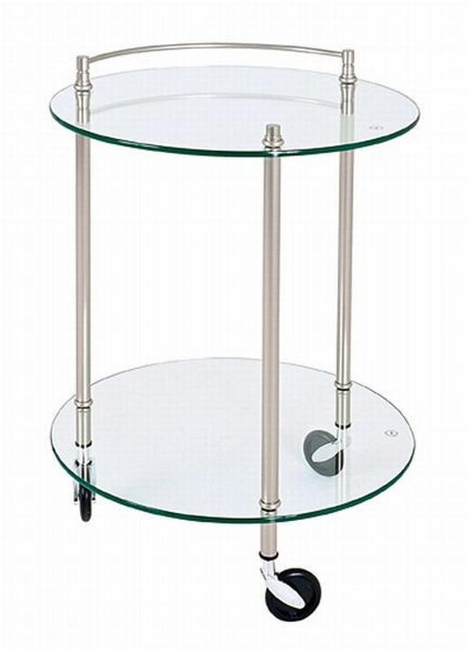 SERVIERWAGEN Glas, Metall Edelstahlfarben - Edelstahlfarben, KONVENTIONELL, Glas/Kunststoff (45/63cm)