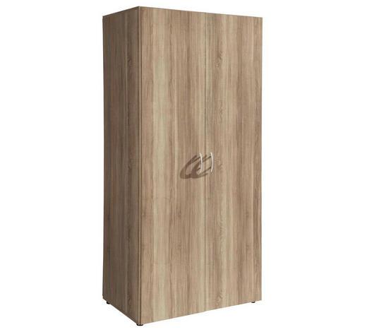 DREHTÜRENSCHRANK 2-türig Eichefarben  - Eichefarben/Alufarben, Basics, Holzwerkstoff/Kunststoff (80/177/52cm) - Carryhome