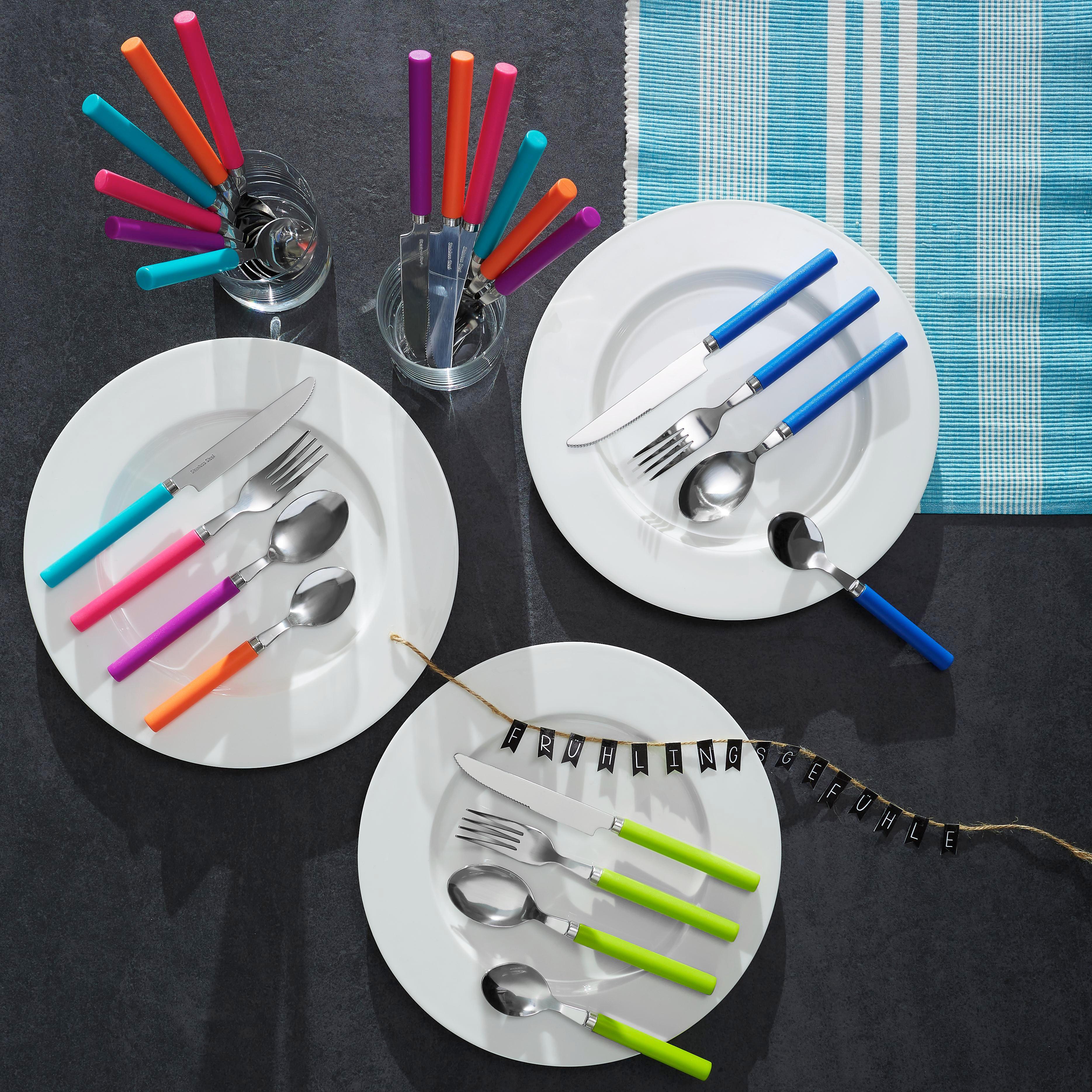 LÖFFELSET - Silberfarben/Lila, Basics, Kunststoff/Metall (29/22/2cm)