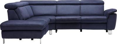 WOHNLANDSCHAFT in Dunkelblau Textil - Beige/Alufarben, Design, Textil/Metall (271/242cm) - Cantus
