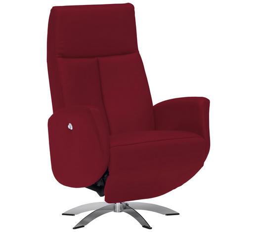 RELAXSESSEL in Textil, Leder Rot - Chromfarben/Rot, Design, Leder/Textil (71/105/75cm) - Welnova