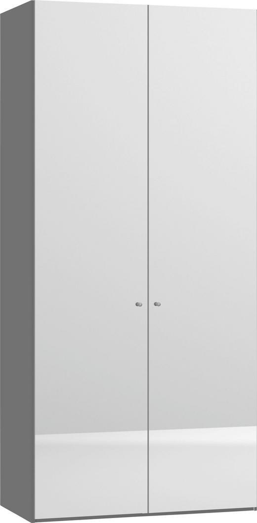 DREHTÜRENSCHRANK 2  -türig Weiß - Silberfarben/Weiß, Design, Glas/Holzwerkstoff (101,9/220/59cm) - JUTZLER