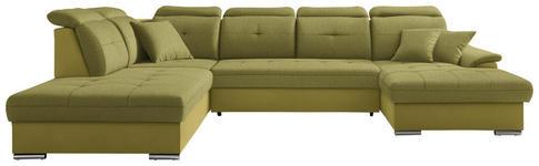 WOHNLANDSCHAFT in Textil Limette  - Silberfarben/Limette, Design, Textil/Metall (263/365/187cm) - Cantus