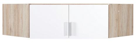 AUFSATZSCHRANK in Weiß, Eichefarben  - Eichefarben/Alufarben, KONVENTIONELL, Holzwerkstoff/Kunststoff (117/39/117cm) - Carryhome