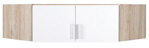 AUFSATZSCHRANK 117/39/117 cm Eichefarben, Weiß - Eichefarben/Alufarben, KONVENTIONELL, Holzwerkstoff/Kunststoff (117/39/117cm) - Carryhome