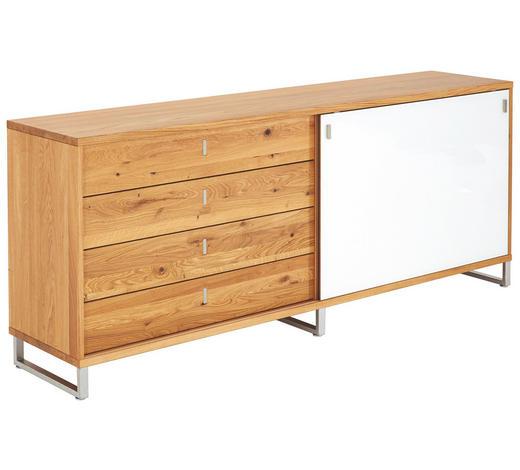 ANRICHTE in massiv Eiche, Wildeiche Eichefarben - Eichefarben, Design, Holz/Metall (198,2/79,5/42cm) - Team 7