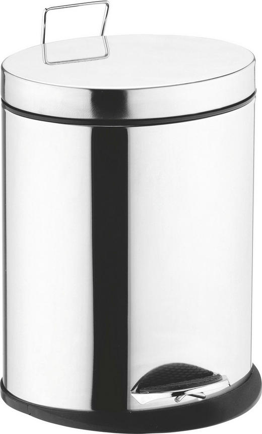 TRETEIMER 5 L - Edelstahlfarben/Schwarz, Basics, Kunststoff/Metall (21,5/28,5/16,5cm)